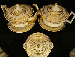 First Empire Old Paris Porcelain Pair Teapots On Stands And Covered Sugar Bowl