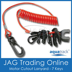 Jet Ski Red Safety Lanyard And Clips- Boat/outboard/omc/merc/pwc/yamaha Waverunner
