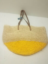 New Old Navy Beach Bag Tote Purse One Size Bag Tan Brown Yellow NWT