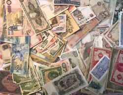 Mixed World Bank Notes Circulated With Older Ones Choose The Amount