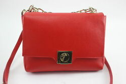 New Versace Collection Crossbody Red Leather Handbag w Gold Chain