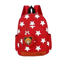 (Red) - Flyingsky Durable Five-Pointed Star Bear Coin Purse Backpack for Kids