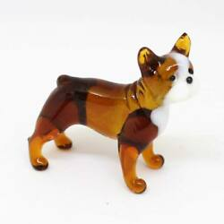 Middle blown glass figurine Dog - French bulldog. Handmade #115