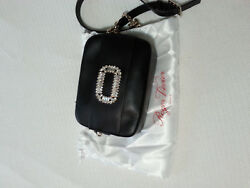 New Roger Vivier Mini Strass Buckle black leather bag with tags and dust bag