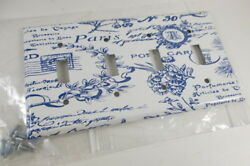 New Mulberry Switch Plate Cover Paris Print  Country Chic Blue White Designer