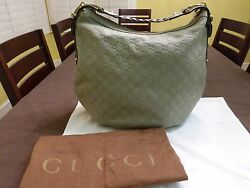 GUCCI Guccissima Sage Green Gray Leather Embossed Pelham Horsebit Hobo Purse Bag
