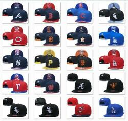 New Embroidered MLB Team Baseball Cap Flat Brim Sun Hat Outdoor Sports Unisex $12.99