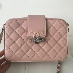 New CHANEL CC BOX  Beige Pink caviar Large CAMERA CASE Bag