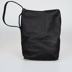 RICK OWENS New Woman Black Pebble Leather Large Bucket Bag Made in Italy