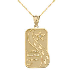 Solid 10k Yellow Gold Diamond Footprints in the Sand Poem Pendant Necklace