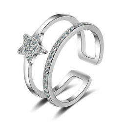 Solid 925 Sterling Silver Cute Sweet Zircon Star Open Band Ring Jewelry Gift