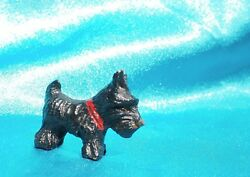 Vintage Syroco wood Scottish terrier dog Scotty Scottie w red collar Miniature *