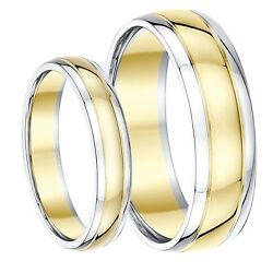 9ct Two-colour His And Hers Wedding Ring Bands 4mm 6mm Solid Two Tone Gold