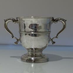Mid 18th Century George Ii Antique Sterling Silver Two Handled Cup London 1745
