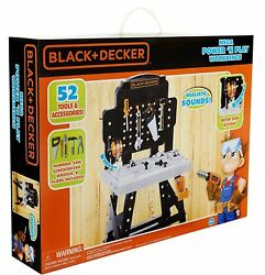 Black And Decker Mega Power And039n Play Workbench Childs Construction Tool Playset New