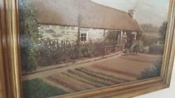 1800s Antique Painting of Scottish Landscape. With home owners family
