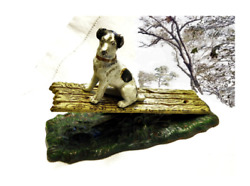 Antique Desktop Figural Iron Terrier Dog Rare Desk Paper Letter Clip Note Holder