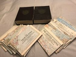 40 1946-1959 National Geographic Magazine Maps Of The World In Book Storage