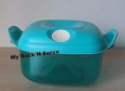 Tupperware Square Heat N Serve Microwave Container 5 Cup Aqua Blue New