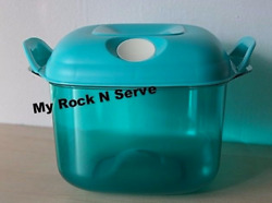 Tupperware Square Heat N Serve Microwave Container 8 Cup Aqua New