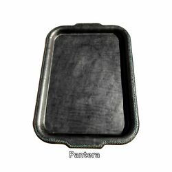 pantera  black leather tray handstitched green accents  bati signature collec $150.00