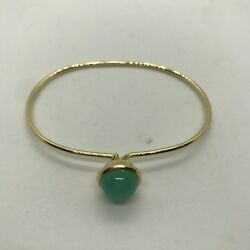 New Syna Baubles 18k Yellow Gold Chrysoprase Bracelet Stacking Sold Out 2310