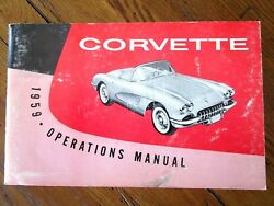 1959 Corvette Factory Gm Owners Manual 2nd Edition Part 3758068 W/ Full Card