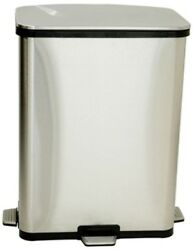 Stainless Steel Trash Can 13 Gal Fingerprint Proof Step Sensor Silver Metallic