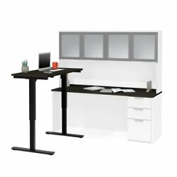 Bestar Pro Concept Plus Adjustable L Desk With Hutch In Deep Gray And White
