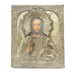 19th Century Icon Oil Painting Board Sculpted Silver Hammered Metal Tin Russian