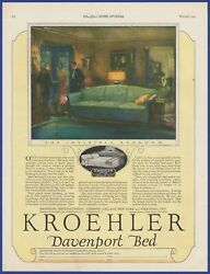 Vintage 1924 Kroehler Davenport Bed Couch Furniture Art Decor Print Ad 20and039s