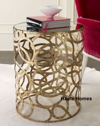 New Horchow Swirl Iron Accent Side End Table Mirror Top