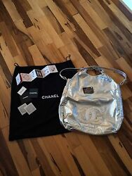 Chanel Silver Metallics Leather Limited Edition Rodeo Drive Bag XL