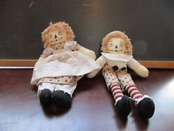 Raggedy Anne And Andy Dolls Approx 11 Tall Star Pattern Clothing White Apron Toy