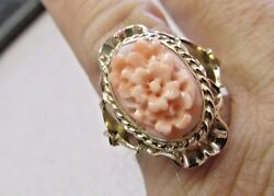 Wow Stunning Estate 14k Gold Carved Angel Coral Flower Ring Size 7 Must See