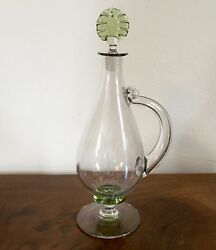 Vintage Venetian Glass Footed Decanter Ewer With Handle Wine Or Water Art Deco