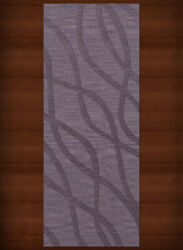 Purple Transitional Hand Hooked Waves Lines Stripes Area Rug Abstract Dv10