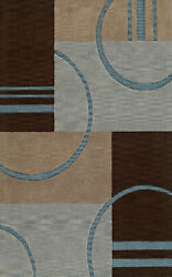 Brown Transitional Hand Hooked Boxes Lines Rectangles Area Rug Circles Tr23