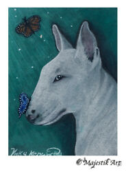 English Bull Terrier Original ACEO ATC