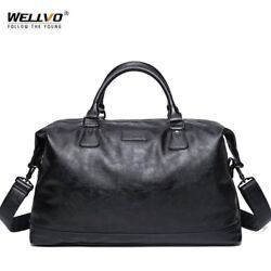 Leather Men's Travel Duffel Bag Round Bucket Shape Bag Shoulder Bag Waterproof