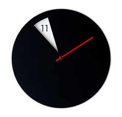 Modern Round Novelty Wall Clock with a Spinning Disk Black Red