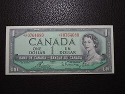 1954 1 Dollar Bank Of Canada Banknote Replacement H/f0764680 Modified Unc Gr