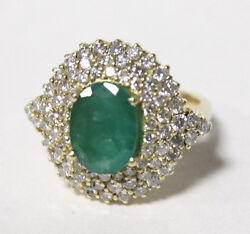 14k Yellow Gold Ring Diamond and Emerald Dome Ring size 5.5