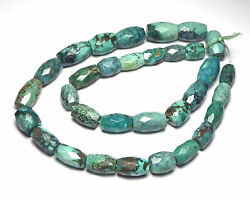 16 Strand Tibetan Turquoise 10-16mm Faceted Barrel Beads /b4