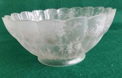 Antique Vintage 4 Fitter Ruffled Etched Gas Light Shade Floral Pattern 0006s