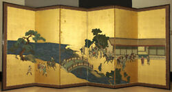 Japanese 19th c Hand Painted Folding Screen with Part Two of 12 Panels