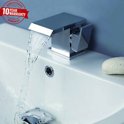 Waterfall Luxury Square Chrome Modern Basin Mixer Tap With Single Side Lever Q