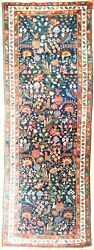 Genuine Hand Knotted Authentic Antique Runner Rug. 3'4x 9'6