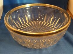 Vtg Lead Crystal Leaded Glass Bowl With Silverplate Silver Plated Rim