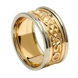 14K two-tone Gold Gra Go Deo Wedding Ring Band SIZE 11.5 Made in Ireland by Boru